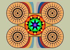 Pôster Mandala Carruagem - Simbologia: Uma composição geométrica baseado no número 7, uma referencia abstrata ao Arcano 7 O Carro.  Seus valores simbólicos são: Os setenários sagrados, o sacerdócio, a realização e o triunfo.  O Arcano 7 é o Arcano da vitória, e a força que une o homem animal a origem espiritual.