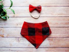 Red and black plaid baby bib and headband set