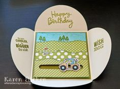 Karen Aicken using the Pop it Ups Happy Birthday and Outdoor Edges dies by Karen Burniston for Elizabeth Craft Designs. - C4C271 - Masculine Birthday Card