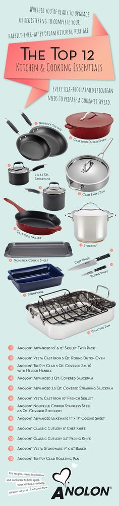 The top 12 kitchen & cooking essentials every home chef needs to complete their kitchen. #LoveAnolon