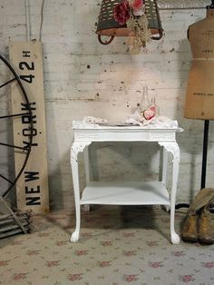 Painted Cottage Chic Shabby  White Romantic End by paintedcottages