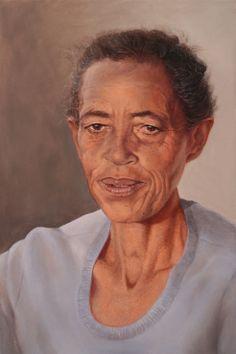 "SPA TOP40 2013 - Sue Tatham  //  ""The Kalahari red dunes woman: Belinda Kruiper Org""  /  Oil on Canvas  /  92x61cm"