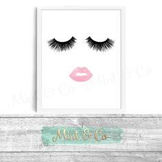 Lips & Lashes Makeup Print INSTANT Download Digital Printable Watercolor Wall Decor Art, eyelashes, eyelash, lash fashion print by MintandCompany on Etsy https://www.etsy.com/listing/253949630/lips-lashes-makeup-print-instant