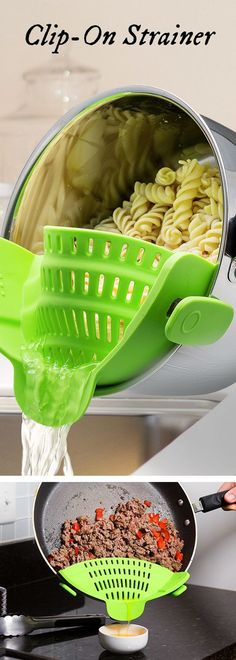 Snap'n Strain's silicone strainer, discovered by The Grommet, clips right on the pot to drain without needing to transfer your food. gadgets Clip-On Strainer by Snap'n Strain Kitchen Items, Kitchen Utensils, Kitchen Hacks, Kitchen Tools, Kitchen Decor, Kitchen Appliances, Ikea Kitchen, Kitchen Pantry, Kitchen Layout