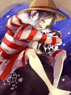 Trafalgar Law x Luffy (One Piece) One Piece Fanart, One Piece Anime, Otaku, One Piece Funny, Samurai Champloo, One Piece Ship, Cutest Couple Ever, One Piece Images, Trafalgar Law