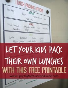 Do you feel like it's a never ending battle to come up with healthy lunch ideas and/or make lunches in the morning?  Let your kids pack their own lunches!  With this free printable and a few guidelines you might be surprised at how easy the transition can be.