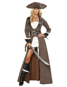 4pc Deluxe Pirate Captain Includes Mini Dress, Studded Trench Coat with Attached Rhinestone Belt, Matching Hat, & Sword Color: Distressed Brown/Black/White • Size: S, M, L, XL Fabric: Poly, Poly Gauze