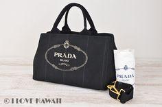 PRADA Black Canvas Canapa Tote Bag With Strap 1877G Brand Name Bags 1f89b8f9b0c0b