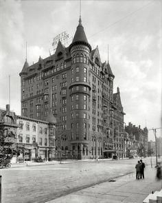 "Philadelphia circa 1908. ""Hotel Walton, Broad Street."" G'night, Mary Ellen ... 8x10 inch dry plate glass negative, Detroit Publishing Company"
