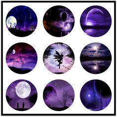 Purple Moon Bilder!! Ideal für Anhänger... Tasten... Ohrringe... Scrapbooking... Aufkleber... Kunst und Kunsthandwerk. Dies ist ein digitaler Download... Druckt auf einem Blatt 8 1/2 x 11. 35 verschiedene Designs enthalten. Ich keine hinzu 3D spiegeln oder Highlights