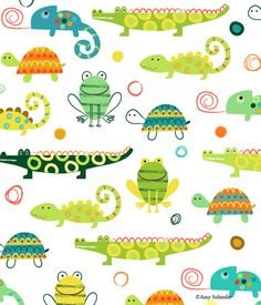 Creatures and Critters 2 fabric collection by Amy Schimler for Robert Kaufman. Inspiration for critters - love the alligators. Kids Patterns, Pretty Patterns, Fabric Patterns, Flower Patterns, Kids Prints, Pattern Illustration, Stuffed Animal Patterns, Surface Pattern Design, Pattern Wallpaper