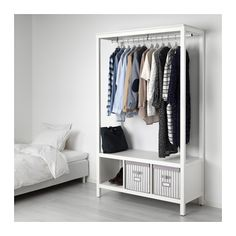 HEMNES open wardrobe, white stained | IKEA Indonesia Narrow Wardrobe, Wardrobe Closet, Ikea Open Wardrobe, Hemnes Wardrobe, Diy Bedroom Decor, Bedroom Furniture, Teen Furniture, Ikea Bedroom, Plywood Furniture