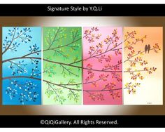 Four Seasons Painting, Four Seasons Art, Abstract Landscape Painting, Abstract Paintings, Landscape Paintings, Love Birds Painting, Ecole Art, Tree Art, Painting Inspiration