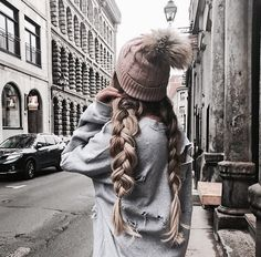 Beauty ~ Dirty Blonde Dutch Braid Pigtails with Brown Beanie ♡ My Hairstyle, Pretty Hairstyles, Braided Hairstyles, Beanie Hairstyles, Hairstyle Ideas, Dutch Pigtail Braids, Braided Pigtails, Cooler Look, Winter Hairstyles