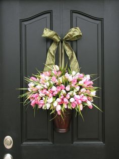 A create idea for a door wreath alternative for the spring time.
