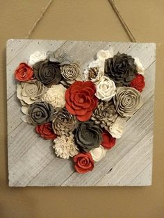 Use material for flowers coral and brown,grey sola wood flower heart wood wall hanging Sola Wood Flowers, Felt Flowers, Diy Flowers, Paper Flowers, Pine Cone Art, Pine Cone Crafts, Crafts To Sell, Home Crafts, Diy And Crafts