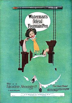 Waterman's Ideal Fountain Pen ad, #vintage #office #Edwardian #ads