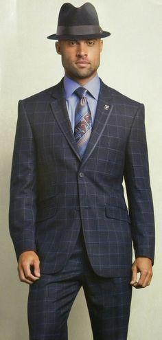 b0713159147 Stacy Adams 1920s Style Ego Vested Blue Plaid 4 Piece Suit 5086-032 IS Blue