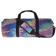 Gym Bag Shoulder Sport Duffle Luggage Duffel Overnight Travel Vacation Barrel Petrol rainbow [043]