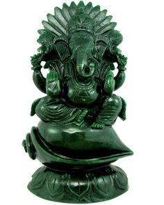 CRTFD 19600Ct Aventurine Quartz Carved Hindu Deity Ganesha Statue Art Sculpture