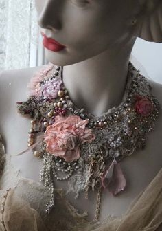 RESERVED-- Original new necklaces for A/W 2015. Bold shabby chic statement necklace, hand sewn from antique and vintage textiles-delicate silks, laces, tulle. You can spot antique handmade needlepoint lace and tapelace, silk embroidery, beaded silk tulle.. Hand embroidered and beaded with intricate details;-the sculpted fabric roses, antique faded pearls from 1930, pink chandelier drop,hand beading,crystals.. The necklace has silk lining so it is comfortable against skin, and it ties with…
