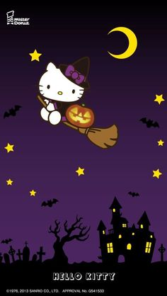 Hello Kitty Halloween Hello Kitty Backgrounds, Hello Kitty Wallpaper, Kawaii Wallpaper, Hello Kitty Art, Sanrio Hello Kitty, Hello Hello, Hello Kitty Characters, Sanrio Characters, Imprimibles Halloween