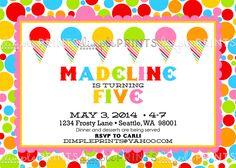 Snowcone Printable Birthday Party Invitation - Dimple Prints Shop