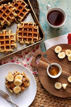 Buttermilk Chocolate Chip Waffles with Almond Butter, Banana, and Honey