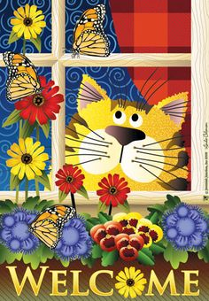 Jeremiah Junction Flag - Kitty In The Window Decorative Flag at Garden House Fla at GardenHouseFlags