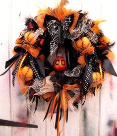 "Halloween wreath black orange app 17"" pumpkins ribbons tinsel feathers by DressingerRoomCorner on Etsy https://www.etsy.com/listing/465392928/halloween-wreath-black-orange-app-17"