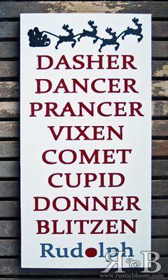 Reindeer Names Rudolph Dasher Dancer Prancer Vixen By