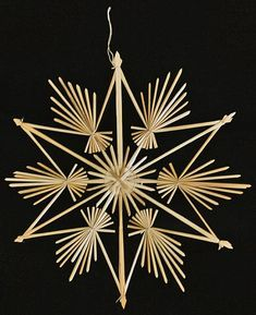 straw weaving It Was A Work of Craft — Scandinavian straw ornaments Care label package for clothing Straw Projects, Straw Crafts, Handmade Ornaments, Diy Christmas Ornaments, Christmas Decorations, Christmas Stars, German Christmas, Straw Weaving, Basket Weaving