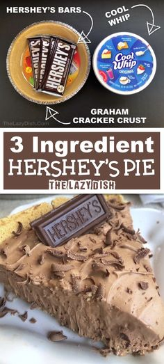 3 Ingredient No Bake Chocolate Pie - Looking for quick and easy dessert recipes? This one is always a crowd pleaser. Made with Cool Whip, Hershey's and a graham cracker crust. The Lazy Dish thelazydish chocolate lazyfood pie 40180621662538274 Quick Dessert Recipes, Quick Easy Desserts, Desserts For A Crowd, Mini Desserts, No Bake Desserts, Just Desserts, Baking Recipes, Delicious Desserts, Party Desserts