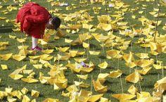 Menina lê mensagens escritas em barquinhos de papel, em memória das vítimas da balsa que naufragou em Seul, na Coreia do Sul. Foto: Ahn Young-joon/Associated Press