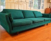 Mid Century, Retro Teal Selig Imperial Couch/Sofa - 8 Feet Long and Beautiful!