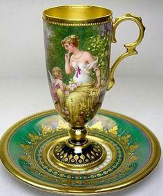 Dresden Porcelain Cup and Saucer Tea Cup Set, My Cup Of Tea, Tea Cup Saucer, Antique Tea Cups, Vintage Cups, Vintage Teapots, Objets Antiques, Dresden Porcelain, Teapots And Cups
