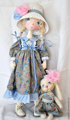 Купить Коллекционная кукла ручной работы Любочка - голубой, подарок на любой случай, авторская кукла: