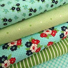 A pretty bundle from the  Daysail collection designed by Bonnie and Camille (a mother and daughter team), for Moda fabrics.  ~ Aqua and Green