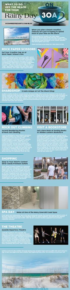 Here's a list of our favorite things to do on 30A when it rains! Catch A Show at the Seaside Repertory Theatre, Put Your Creative Cap on at Rock Paper Scissors 30A, Create Unique Art at The Shard Shop, Ascend Bouldering Routes at Rock Out Climbing, Read at Sundog Books or Hidden Lantern Bookstore, Go Shopping at Silver Sands Premium Outlets, & Relax at One of the Many Emerald Coast Spas! Coast Spas, Bouldering Gym, Premium Outlets, Relaxing Art, Find A Book, Rock Paper Scissors, Kids Art Class, Miramar Beach, Rosemary Beach