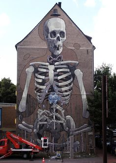 """Taking bones to new heights"" KB Aryz new big wall painting in Cologne, Germany"
