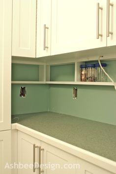 shalllow shelf under cabinets gets stuff off counter, great for spices, small items