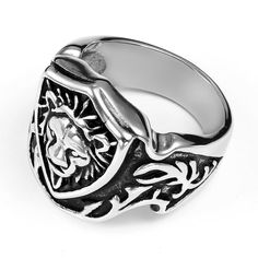 Flongo Gothic Lion Shield Celtic Knot Stainless Steel Ring Mens