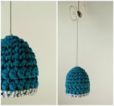 SALE! Was €39,50    Hand crochet pendant lamp. Only one left!    It is made of 'sustainable yarn made from offcuts of new fashion garments. It cons...
