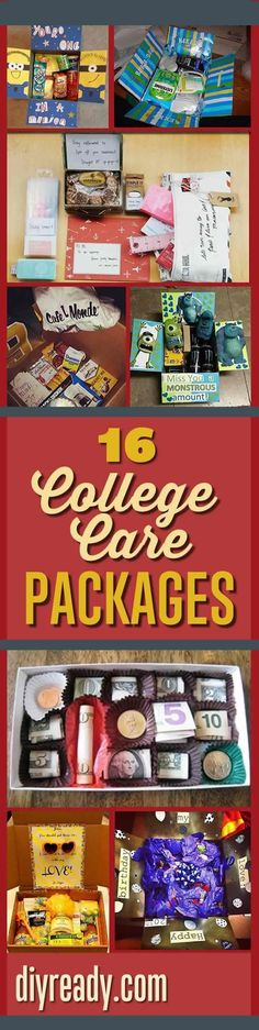 If your kid is going away for college, why not make a care package to make them feel that you care. These care package ideas will make them feel at home. College Gifts, Grad Gifts, College Dorms, Teacher Gifts, College Gift Baskets, Graduation Gifts For Daughter, College Ready, College Hacks, Homemade Gifts