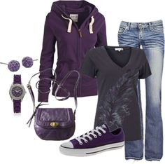 Love this look...too much purple if possible...but i'd want a black purse...but i really do like this outfit!!
