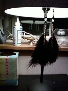 Feather Earrings with Beads & Chains