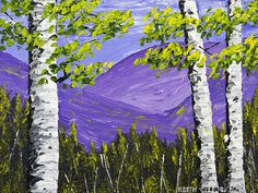 Colorful print of Birch Trees and Mountains in Spring painting.