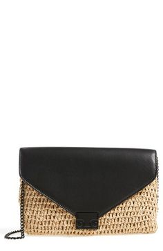 Loeffler Randall 'Lock' Raffia & Leather Clutch available at #Nordstrom