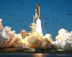 The space shuttle Challenger launches on Jan. 28, 1986. The mission would end in tragedy just 73 seconds into the flight.