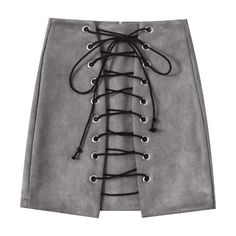 Faux Suede Mini Lace Up Skirt (€16) ❤ liked on Polyvore featuring skirts and mini skirts